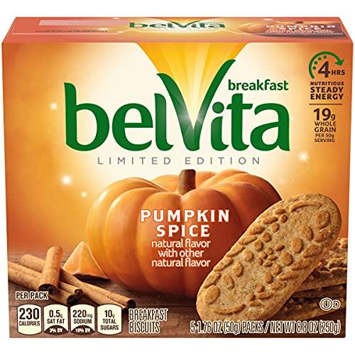 belVita Pumpkin Spice Breakfast Biscuits, 1 Box of 5 Packs (4 Biscuits...