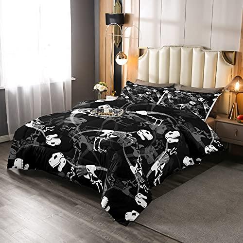 Juego de cama de dinosaurio 3 piezas para niños, adolescentes, dinosaurio, blanco, edredón acolchado de poliéster suave con 2 fundas de almohada, tamaño King