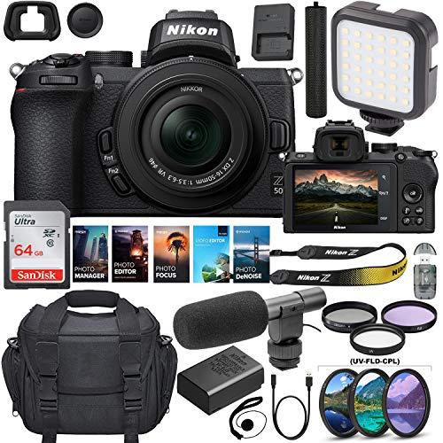 Nikon Z50 Mirrorless Digital Camera with 16-50mm Lens Bundle +Shotgun Microphone + 64GB Memory, LED Video Light and Premium Accessory Kit