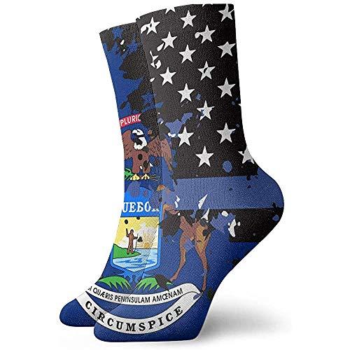 Tammy Jear Michigan Thin Blue Line Flag USA Neuheit Kurze Crew Socken Casual Athletic Sports Crew Tube Socken