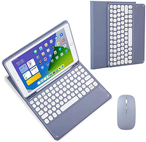 ZKAIAI Keyboard Case for IPad Pro 12.9 2020,Built-in Pencil Holder, Soft TPU Back Protective Cover,Magnetically Detachable Wireless Bluetooth Round Hat Keyboard,With Mouse,Purple