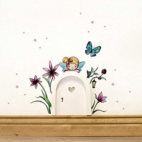 Elfentür mit Wandtattoo kleine Elfe Fee mit Blumen Schmetterling und Punkte e08 *rosa*