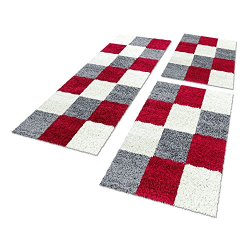 Bettumrandungen 3 tlg. Läufer-Set kariert designer Hochflor Shaggy Teppiche 1501, Farbe:Lila, Maße:2mal 80x150 1mal 80x250