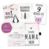 40 Baby Meilenstein-Karten für Mädchen mit hochwertiger Verpackung von Cozy Racoon (Sprache Deutsch) - Meilensteinkarten als Geschenk zur Geburt, Babyparty, Schwangerschaft