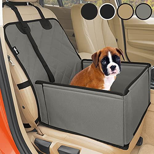 Extra Stabiler Hunde Autositz - Hochwertiger Auto Hundesitz für kleine bis mittlere Hunde - Verstärkte Wände und 3 Gurte - Wasserdichter Hundeautositz für Rück- und Vordersitz (Grau-Schwarz)