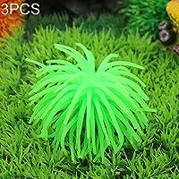 3 PCS水族館の芸術の装飾TPRのシミュレーションシーうにボールコーラル、サイズ:M、直径:10cm ペット用品水族館デコレーション (色 : Green)