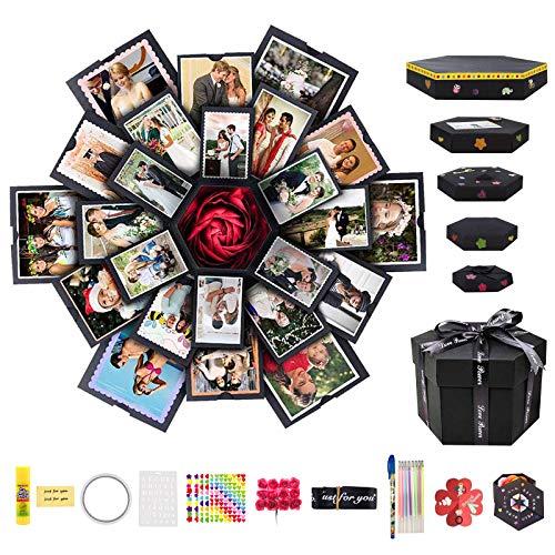Caja de Explosión Creativa Caja de Regalo de 6 Caras, Álbum de Fotos de Hecho a Mano Love Memory DIY, Regalo de Cumpleaños, Caja Sorpresa de Boda o Día de San Valentín