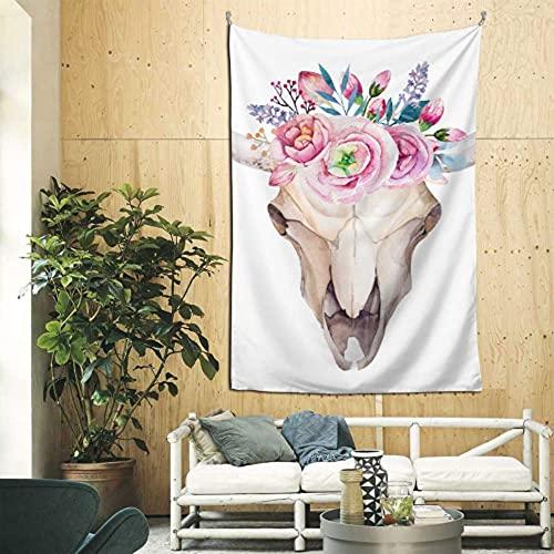 N\A Decoración de Pared para el hogar Cráneo de Cabeza de Toro con Tapiz de Flores Arte de Pared para el Dormitorio del apartamento Telón de Fondo para la decoración del hogar