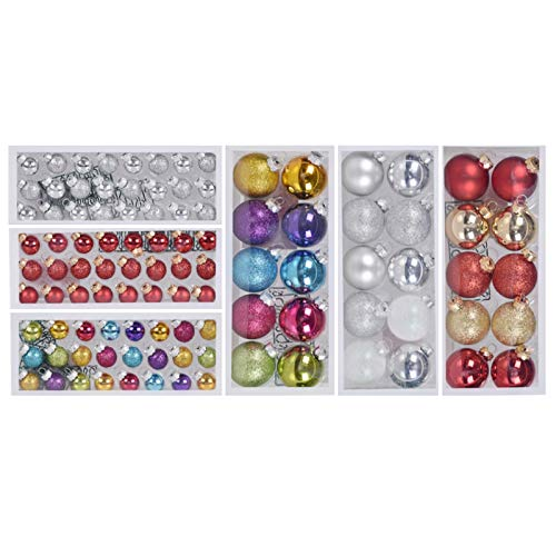 Delicate Glittering Christmas Ball Ornaments, 102 Pieces Classic Collection Baubles Set for Christmas Tree