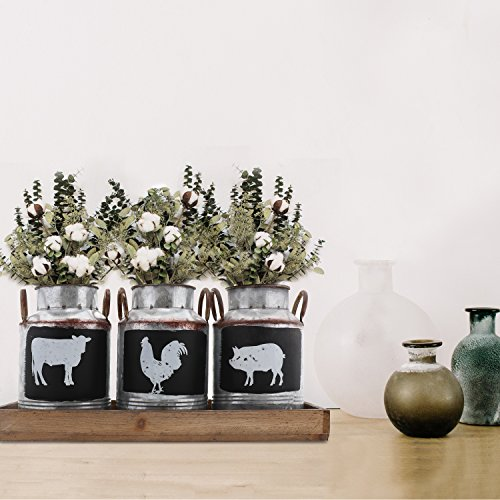 Barnyard Designs Decorative Galvanized Metal Jars with Rustic Handles and Wood Lid & Tray | Country Home Decor with Farm Animal Jug Designs | Set of 3
