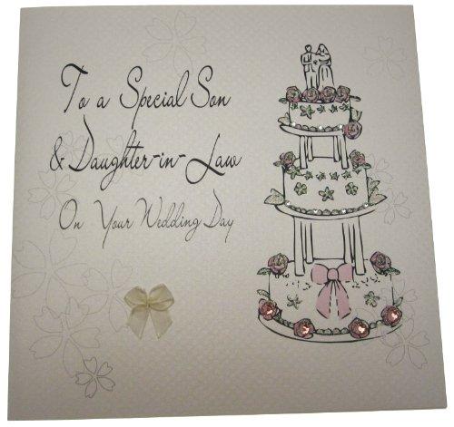 White Cotton Cards Code Xlbd7 to a speciale Son on on your trouwdag handgemaakt en schoondochter groot huwelijk kaart