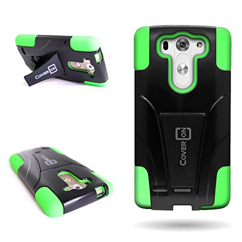 for LG G3 Vigor Hybrid case, by CoverOn Dual Layer Protection Heavy Duty Kickstand Cover (Will Not Fit LG G3) - Black Hard Neon Green Soft Silicone