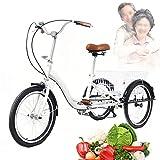 Triciclo para adultos de 20 pulgadas, ruedas dentadas blancas, con cesta de la compra, triciclo para adultos y personas mayores, para ir de compras, excursión, 110 kg, capacidad de carga de 1 marcha