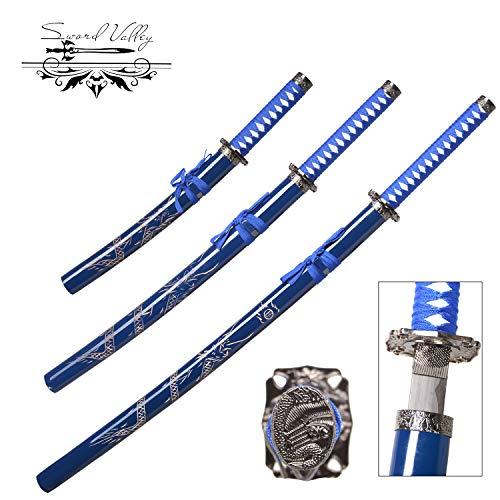 Sword Valley® Katana Samurai Schwert 3-teiliges handgemachtes Messerset, Anime-Schwerter, handgeschmiedet, messerscharfe Messer, Sengo Muramasa, Blumenorchideenmesser, blau