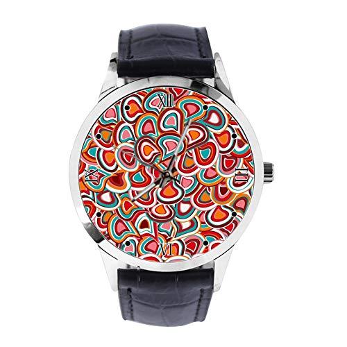 Bunte Wanduhr Mura Custom Armbanduhr Unisex Analog Quarz Uhr mit Lederband Uhren für Mädchen Jungen Armbanduhr
