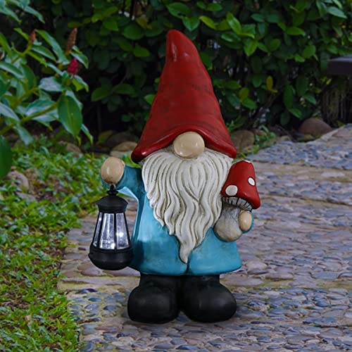 """Exhart Light-Up Gnome Garden Statue – Gnome Holding Solar LED Lantern & Mushroom Statue - Weather-Resistant Resin Gnome with Lantern – Hand Painted Gnome Decor for Garden, 11"""" L x 7.5 W"""" x 19"""