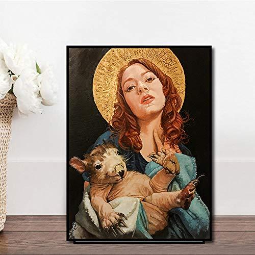 QZROOM Tier Frauen Kunst Wandmalereien Drucken auf Leinwand Pop Art Leinwanddrucke Moderne Mädchen Ölgemälde für Wohnzimmer Schlafzimmer Wanddekoration   50x70cm / kein Rahmen