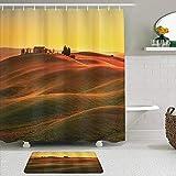 ShopHM Juegos de Cortinas de baño con alfombras Antideslizantes, Paisaje Rural Italiano de la Antigua casa mediterránea Europea en la Granja del Campo,con 12 Ganchos
