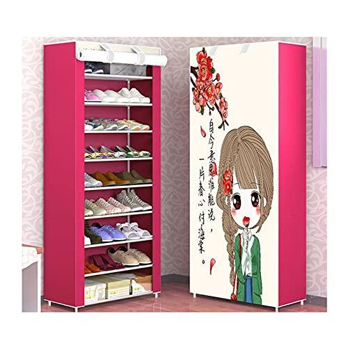 Armario de Plegable Zapatillas portátiles grandes de tela no tejida de tela de almacenamiento Organizador de almacenamiento Metal Zapato Torre Gabinete para dormitorio de entrada de vestimenta , H 63
