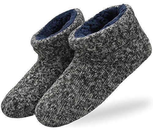 KuaiLu Herren Wolle Hausschuhe Stricken Künstliche Warme Indoor Stiefel rutschfest,Schwarz,42 EU (UK 8 US 9)