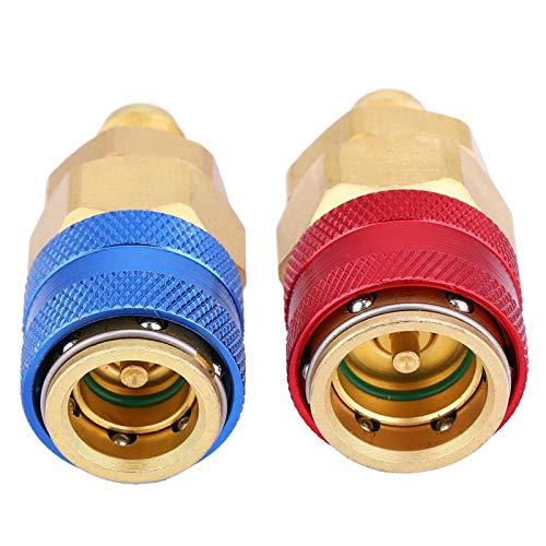 2Pcs R134A Accesorios adaptadores de rápido alto-bajo Kits de conversión de manguera calibre múltiple de alta confiabilidad Accesorios automotrices para mantenimiento de aire acondicionad(R134A)