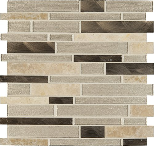 M S International Champagne Toast Interlocking 12 In. X 4 mm Glass/Metal/Stone Mesh-Mounted Mosaic Tile, (20 sq. ft., 20 pieces per case)