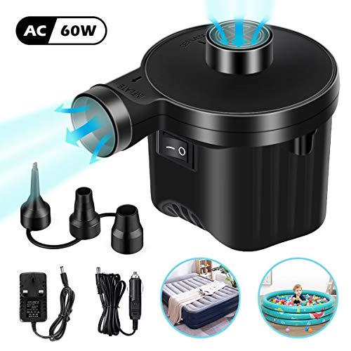 Electric Air Pump Portable, Sucastle 60W Quick-Fill Inflator Deflator Pump 110-240V AC/12V DC, Air Mattress Pump with 3 Nozzles for Outdoor Camping Car Inflatables Cushions,Pool,Boats,Swimming Ring