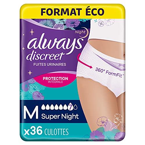 Always Discreet, Culottes pour incontinence / fuites urinaires, Taille M, 7 gouttes Format éco x36
