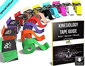 Physix Gear Sport Waterproof Kinesiology Tape 16ft Uncut Roll with 82pg EGuide - Ktapes Kinesiology Tape, Knee Tape for Knee, Muscle Tape Kinesiology Tape for Sports Taping, Weightlifting Tape