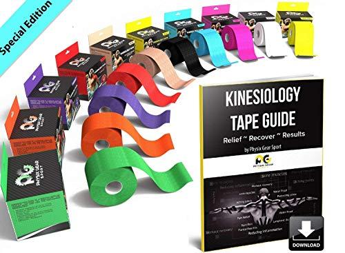 Physix Gear Tape kinesiologico - Nastro K Tape Sportivo 5m x 5cm Non Tagliato - Nastro Adesivo Impermeabile per dolori muscolari al Ginocchio, Gomito, Schiena, Spalla - Sport Tape con Guida (2PZ Blu)
