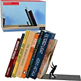 Unique Metal Decorative Bookends - Whimsical Hidden Book Ends for a Cool Book Holder Display - Cute Home Decor and Modern Gift Idea for Shelves Desk or Table (Falling)