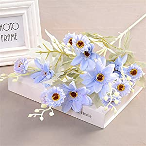 TRRT Fake Plants Artificial Silk Dahlia Chrysanthemum Bouquet, Home Wedding Garden Living Room Decoration Fake Flower (Color : Light Blue)