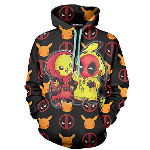 JHGJHG Héroes Deadpool con Capucha de la Serie Digital de impresión en 3D de Cosplay con Capucha Unisex,S