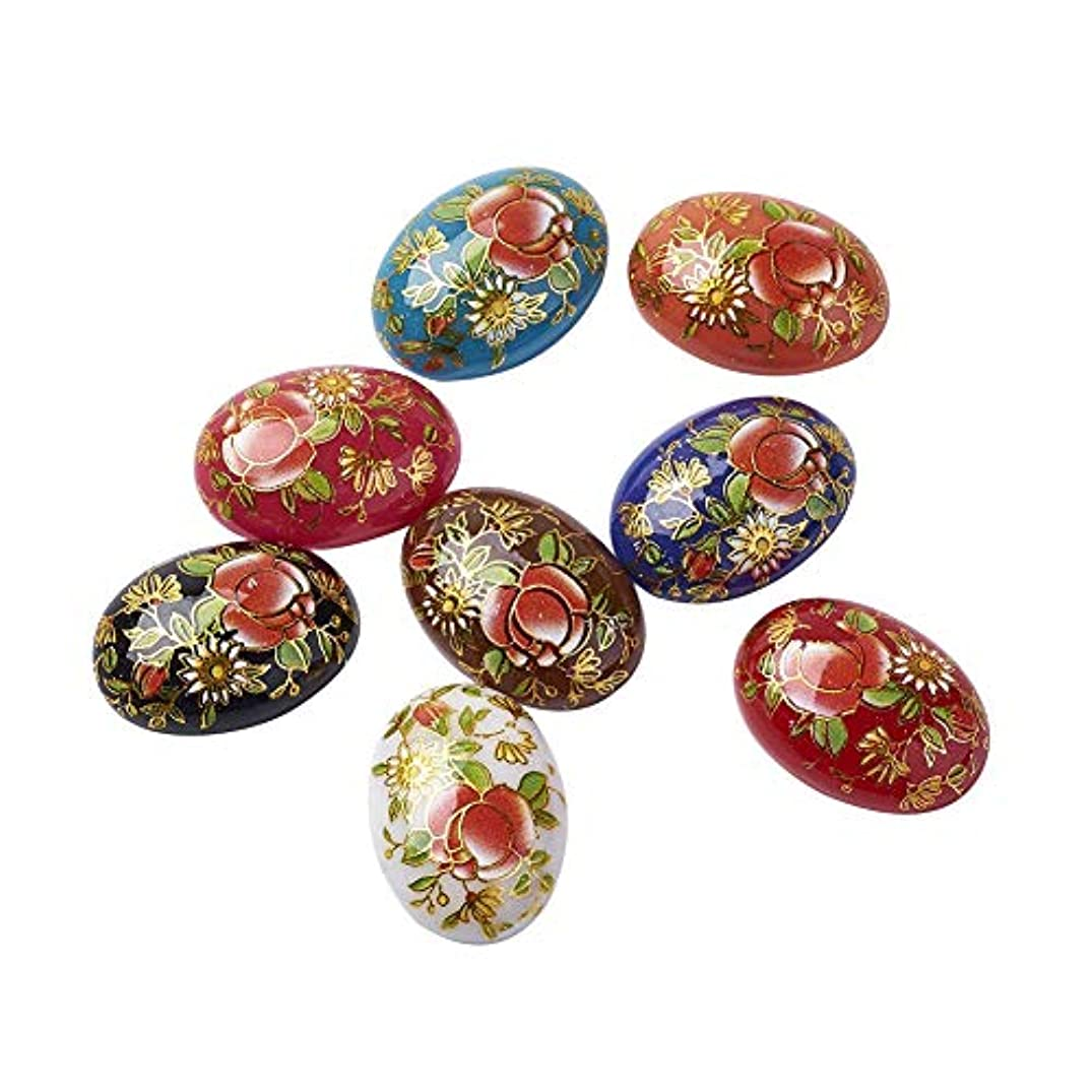 ARRICRAFT 10pcs Printed Flower Resin Cabochons Flat Back Oval Round Beads Cabochon Embellishments for Craft Scarpbooking Jewelry Making