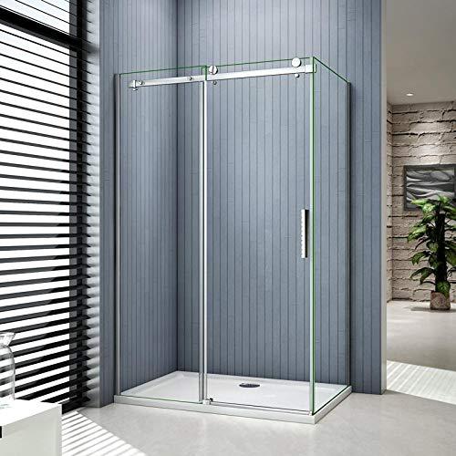 Mampara de ducha esquina, puerta corredera, pared lateral, plato de ducha: Amazon.es: Bricolaje y herramientas