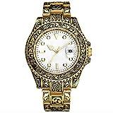 QHG Reloj automático a Prueba de Agua de los Hombres, Reloj de Hombre de Cuarzo Grabado Luminoso, Reloj de Hombre de Moda de Oro (Color : A)