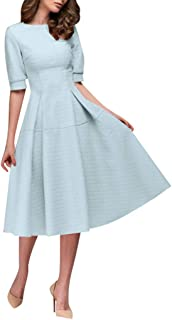 ASOBIMONO Womens Vintage Scoop Neck Midi Dress Floral Printed A-line Cocktail Party Half Sleeve Top Pleated Dress Car Electronics & Accessories