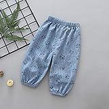 Janly Clearance - Pantalones para niños de 0 a 5 años de edad, pantalones de linternas para niños de algodón fino cáñamo aire acondicionado pantalones para niños pequeños, azul, 18-24 meses