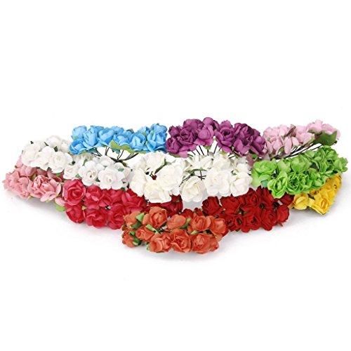Ddg Edmms Mini-Papierrosen Set mit 144 künstlichen Rosen 1,5 cm für Hochzeit, Party, Zuhause, Garten, Dekoration, Basteln, Basteln, Blau