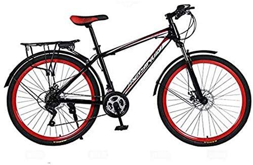 HCMNME Bicicleta Duradera Rígida Bicicleta de montaña, PVC y Todos los Pedales de Aluminio, Marco de Acero de Alto Carbono y aleación de Aluminio, Doble Freno de Disco, 26 Pulgadas Ruedas Cua