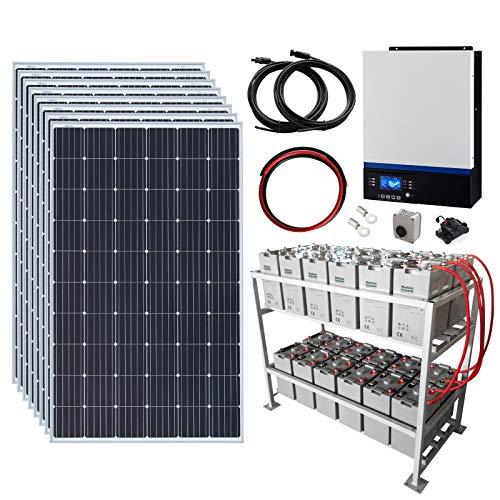 Sistema completo de energía solar fuera de la red de 2,4 kW 48 V con 8 paneles solares de 300 W, inversor híbrido de 5 kW y banco de baterías de 24 kWh.