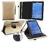 Emartbuy® Blaupunkt Polaris 808 Tablet PC 8 Zoll Universal (7-8 Zoll) Metallic Gold Premium PU Leder 360GradrotierendeStandFolioGeldbörseTascheHülle + Schwarz Eingabestift