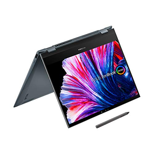 ASUS OLED ZenBook Flip UX363EA 13.3 inch 400nits Touchscreen Laptop (Intel i7-1165G7, 16GB RAM, 512GB SSD, Backlit Keyboard, Windows 10) Includes Stylus Pen and USB-C to audio jack adapter