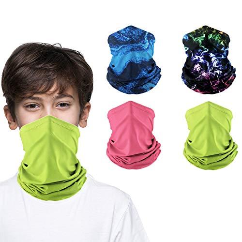 Kids Neck Gaiters Face MasksforCoronavịrus Protection KidsGaiter masks Balaclava UV Protection BandanasBoys Girls 4Pcs(color03)