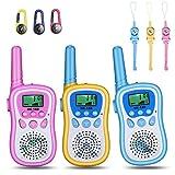Anpro Talkie walkie Enfants, Jouet Radio à 8 canaux avec lanière et Boussole, portée jusqu'à 3Miles avec écran LCD et Lampe de Poche,Talkie-walkie avec Motifs Licorne, Dauphin, Requin