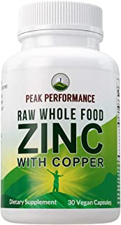 Raw Whole Food Zinc with Copper + 25 Organic Vegetables and Fruit Blend for Max Absorption. Immune Support Supplement Caps...