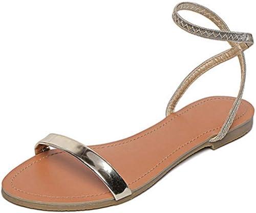 Sandales, Une Boucle, Fond Plat pour Femmes, Chaussures pour Femmes Sauvages, Bout Rond