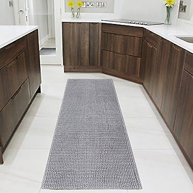 Lifewit 70.9  x 25.6  Bath Runner Rug Area Chenille Mat Rugs Bathroom Living Room Kitchen Machine Washable Shag Rug Grey