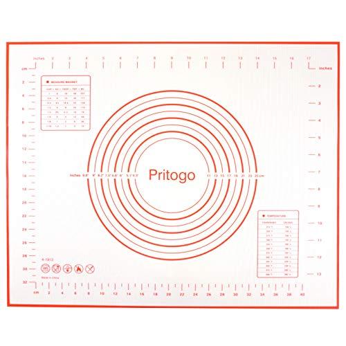 Pritogo Silicona con Tejido 50 * 40 cm, Esterilla de Horno BPA libremente, -40°C hasta 240°C, sin Aceite & Grasa, Revestimiento Antiadherente para Pizza, Pasteles, Masa, Carne, etc.