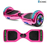 TPS 6.5' Chrome Hoverboard Electric Self Balancing Scooter w/Bluetooth UL2272 Certified LED Lights (Chrome Pink)